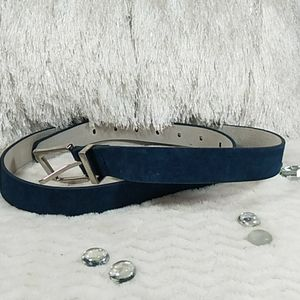 White House Black Market Navy Suede Leather Belt